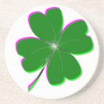 Pretty St. Patricks Day 4-Leaf Clover Design Coasters