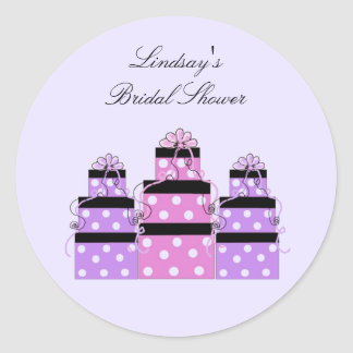 Pretty Stacked Bridal Shower Packages Classic Round Sticker