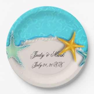 Pretty Starfish Summer Beach Paper Plate