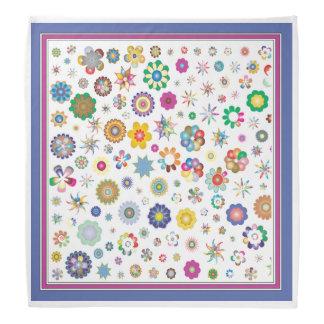 Pretty Stars and Flowers White Girls Bandana