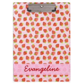 Pretty Strawberry Cream Pattern Personalized Clipboard