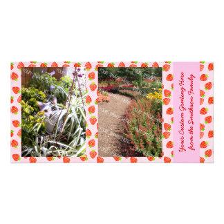 Pretty Strawberry Cream Pattern Personalized Personalized Photo Card