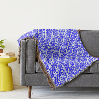 Pretty Stylish Blue And White Repeat Patterned Throw Blanket