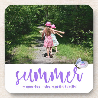 Pretty summer butterfly with add photo and name coaster