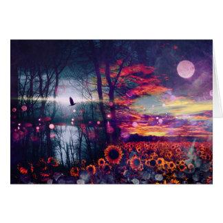 Pretty Sunflower Fantasy Landscape Card