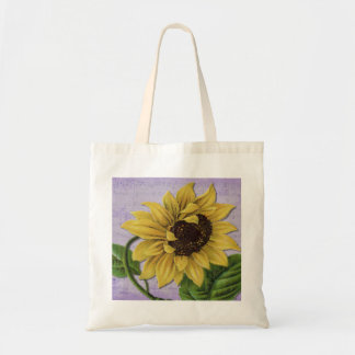 Pretty Sunflower On Sheet Music Budget Tote Bag