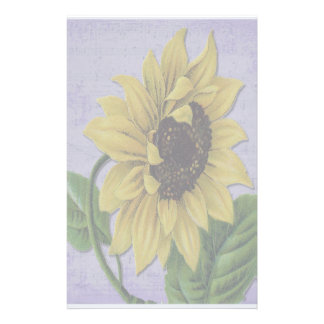 Pretty Sunflower On Sheet Music Stationery Design