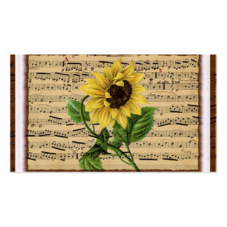Pretty Sunflower On Vintage Sheet Music Pack Of Standard Business Cards