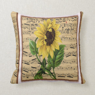 Pretty Sunflower On Vintage Sheet Music Cushion