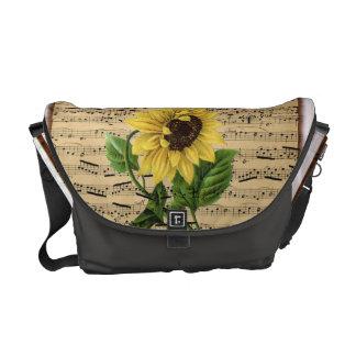 Pretty Sunflower On Vintage Sheet Music Messenger Bags