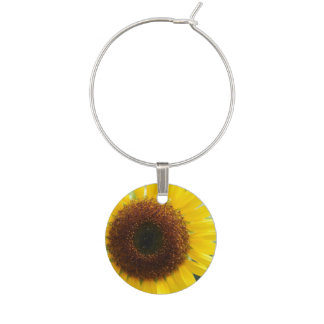 Pretty Sunflower Wine Charm