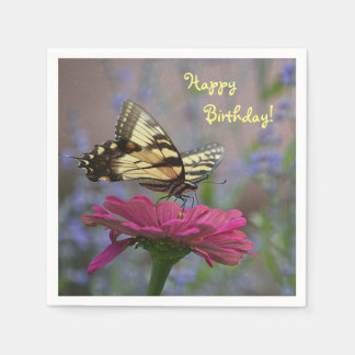 Pretty Swallowtail Butterfly On Zinnia Disposable Napkins