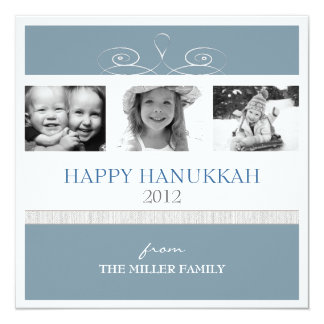 Pretty Swirl Happy Hanukkah Holiday Photo Card 13 Cm X 13 Cm Square Invitation Card