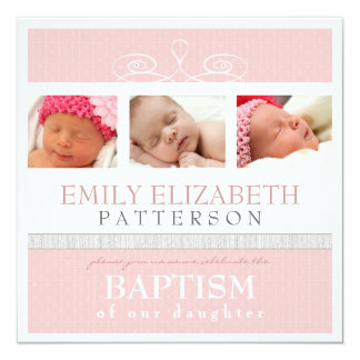 Pretty Swirl Photo Collage Baptism Invitation