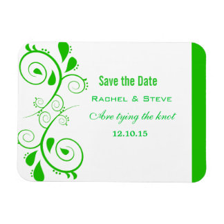 Pretty Swirls Save the Date  Magnet, Green Rectangular Photo Magnet