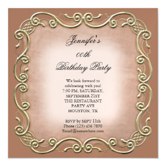 Pretty Taupe Antique Scroll Birthday Party Magnetic Card