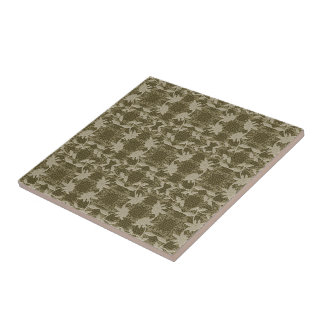 Pretty Taupe Floral Lace Pattern  Trivet Small Square Tile