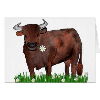 Pretty Taurus Bull And Daisies Zodiac Card