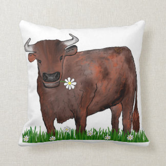 Pretty Taurus Bull And Daisies Zodiac Cushion