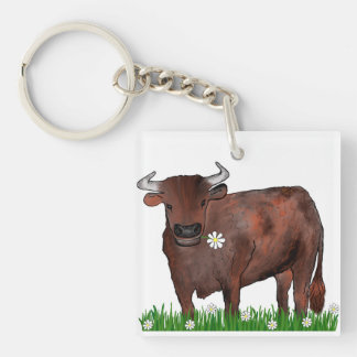 Pretty Taurus Bull And Daisies Zodiac Key Ring