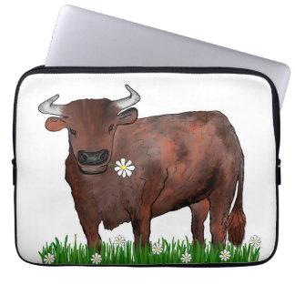 Pretty Taurus Bull And Daisies Zodiac Laptop Case