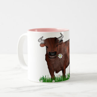 Pretty Taurus Bull And Daisies Zodiac Mug