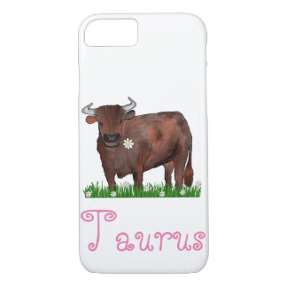 Pretty Taurus Bull And Daisies Zodiac Phone Case
