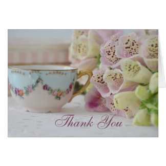 Pretty Tea Cup and Flowers Thank You Cards