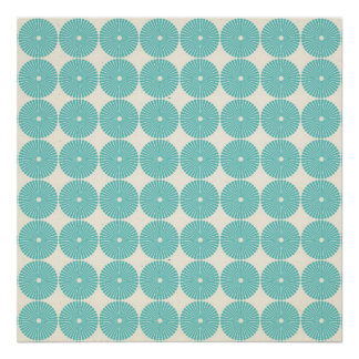 Pretty Teal Aqua Turquoise Blue Circles Disks Poster