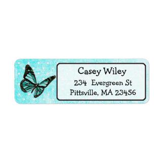 Pretty Teal Butterfly Return Address Label