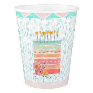 Pretty Teal & Coral Birthday Cake Party Paper Cup