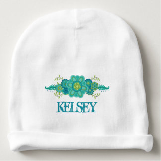 Pretty Teal Flowers Centerpiece Name Template Baby Beanie