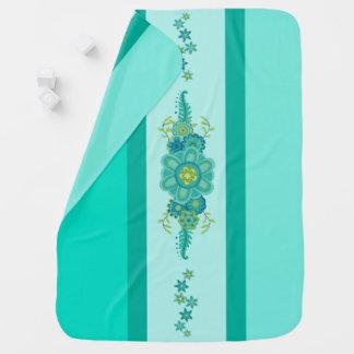 Pretty Teal Flowers Centerpiece & Stripes Baby Blanket