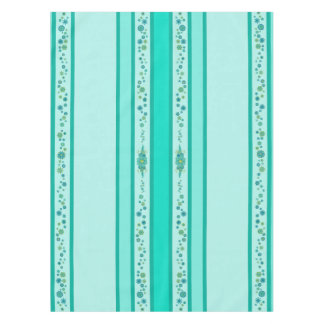 Pretty Teal Flowers Centerpiece & Stripes Tablecloth