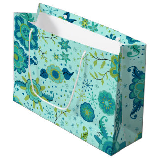 Pretty Teal Flowers Large Gift Bag