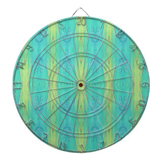 Pretty Teal Lemon Lime Modern Pattern Dartboard