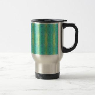 Pretty Teal Lemon Lime Modern Pattern Travel Mug