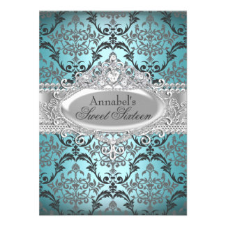 Pretty Teal Silver Damask Sweet 16 Invite