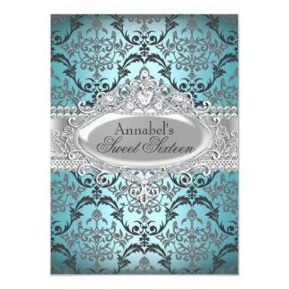 Pretty Teal & Silver Damask Sweet 16 Invite