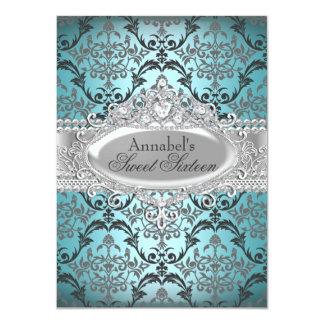 "Pretty Teal & Silver Damask Sweet 16 Invite 4.5"" X 6.25"" Invitation Card"