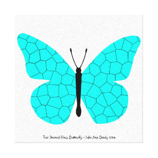 Pretty Teal Stained Glass Butterfly Stretched Canvas Print