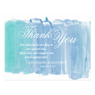 Pretty Teal Watercolor Thank You Postcards