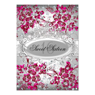Pretty Tiara & Sparkle Flowers Pink Sweet 16 Custom Announcement Cards