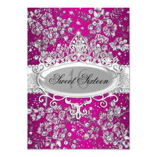 Pretty Tiara & Sparkle Flowers Pink Sweet 16 Personalized Invitation