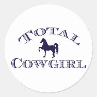 """Pretty """"Total Cowgirl"""" Classic Round Sticker"""