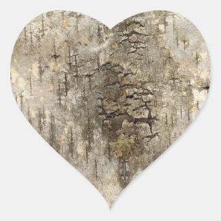 Pretty Tree Bark Heart Sticker