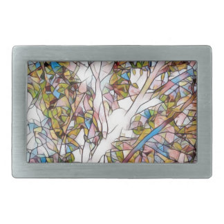 Pretty Tree Of Life Stained Glass Photomanipulatio Rectangular Belt Buckle