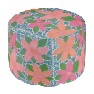 Pretty Tropical Flower Painted Pattern Pouf