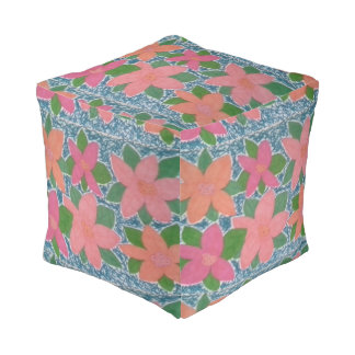 Pretty Tropical Flower Painted Pattern Square Pouf
