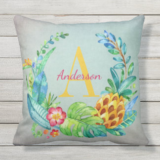 Pretty Tropical Flowers and Pineapple Monogrammed Throw Pillow